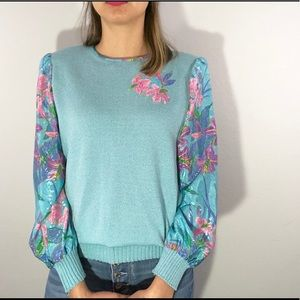 80's floral sweater